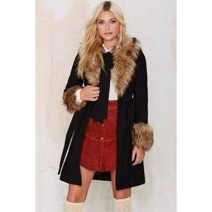 Nasty Gal Wool Blend Fur Trim Trench Coat